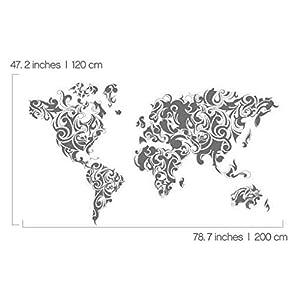 Vinilo Adhesivo Mapa Mundo Decoración Tribal – 200 x 120 cm