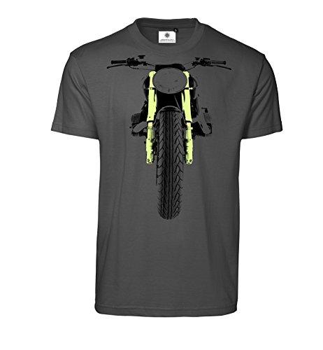 Bedrucktes Herren Biker T-Shirt mit Motiv Dirt Bike (L, Koks)