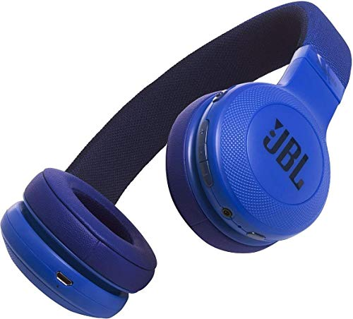 JBL E45BT On-Ear Ohraufliegender Bluetooth Kopfhörer Faltbar Inkl. Abnehmbares Verwicklungsfreies Textilkabel mit Universeller 1-Tasten-Fernbedienung mit Integriertem Mikrofon – Blau - 2