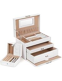 SONGMICS JBC126W - Caja de almacenamiento para la joyería, 24,5 x 15,5 x 16 cm, color blanco y marrón