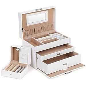 SONGMICS Schmuckkästchen abschließbar mit spiegel Schublade und Mini-Box, Weiß JBC126W