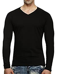 tees collection Men's V-Neck Full Sleeve Black Colour Cotton T-Shirt
