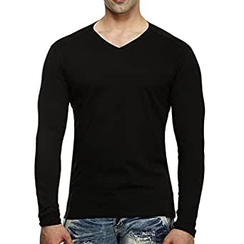 Tees collection men 39 s v neck full sleeve black colour for Full black t shirt