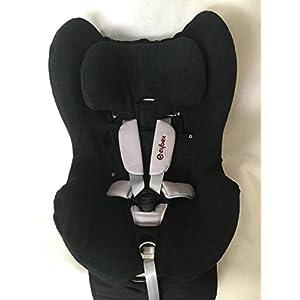 Sommerbezug Schonbezug für Cybex Sirona und Sirona plus Frottee 100% Baumwolle schwarz + Bezug für den Fangkörper