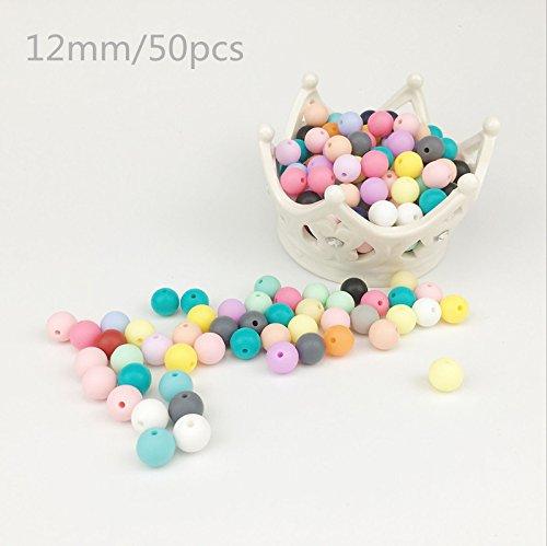 baby tete 12mm(50Pcs) Perles de silicone Round Organic Teethers pour bébé Diy Accessoires Alimentation Grave Sensory Infant DIY Collier Pendentif Baby Grasping Toys