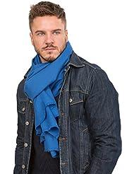 Écharpe tissée à la main mérinos sergée bleu cobalt