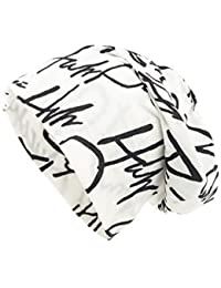 Shenky - Gorro caído de punto - Envejecido - Con letras - Blanco