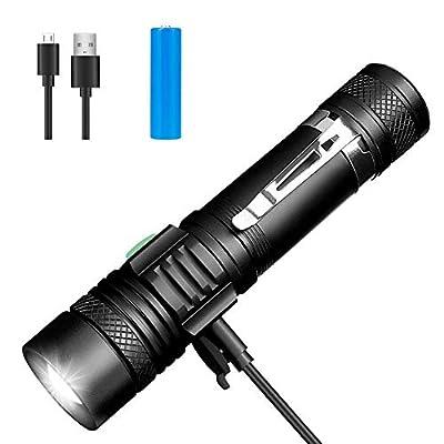 Winzwon LED Taschenlampe, USB Wiederaufladbare Taschenlampen, LED Taschenlampe Extrem Hell, Wasserdicht Flashlight mit 4 Modi für Kinder, Outdoor Camping Wandern (Inklusive 18650 Batterie) von Winzwon - Outdoor Shop