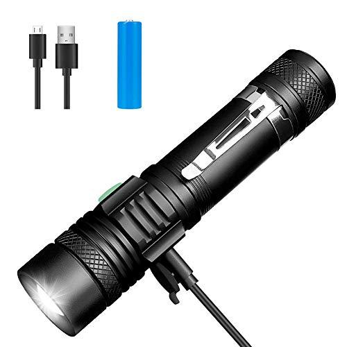 nzwon USB Wiederaufladbare Taschenlampen, LED Taschenlampe Extrem Hell, Wasserdicht Flashlight mit 4 Modi für Kinder, Outdoor Camping Wandern (Inklusive 18650 Batterie) ()