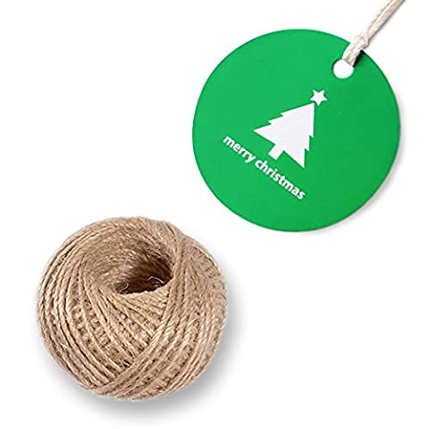 100PCS Paper Gift Tags Round DIY Crafts Hang Tags, with Jute Twine 100 Feet Long for Christmas Gift Tags, Festival Greeting Card