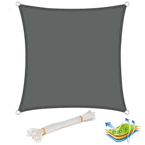 EUGAD Sonnensegel Quadratish Sonnenschutz Tarp Schattenspender Garten UV-Schutz wasserabweisend 100% Polyester 2x2m Grau
