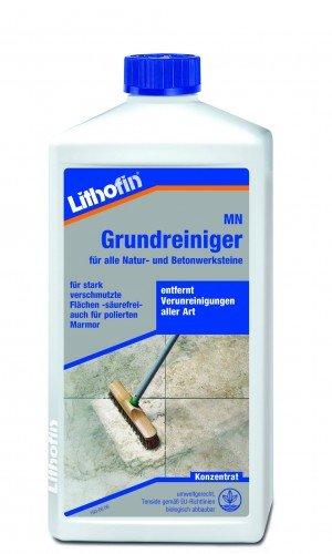 Lithofin MN Grundreiniger Konzentrat für Bodenbeläge, Marmor und Kalkstein stark wirkend bei fettigen Verunreinigungen Säurefrei 1 L (Multi Pure Wasser)