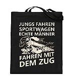 Lokomotive Shirt · Geschenk für Eisenbahn-Fans · Zug · Züge · Spruch: Echte Männer - Jutebeutel (mit langen Henkeln) -38cm-42cm-Schwarz