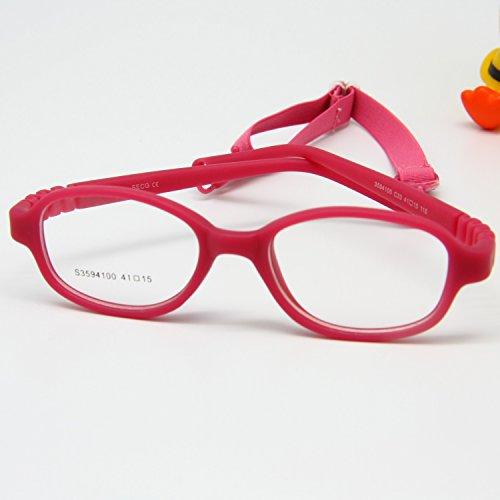 Enzodate occhiali per bambini, montatura di dimensioni 41, non di viti, ottico e sedile monoblocco per neonati con cinghia e cavo, occhiali per bambini, lenti sicure per ragazzi e ragazze