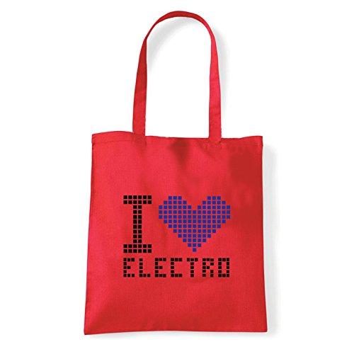 Art T-shirt, Borsa Shoulder I Love Electro, Shopper, Mare Rosso