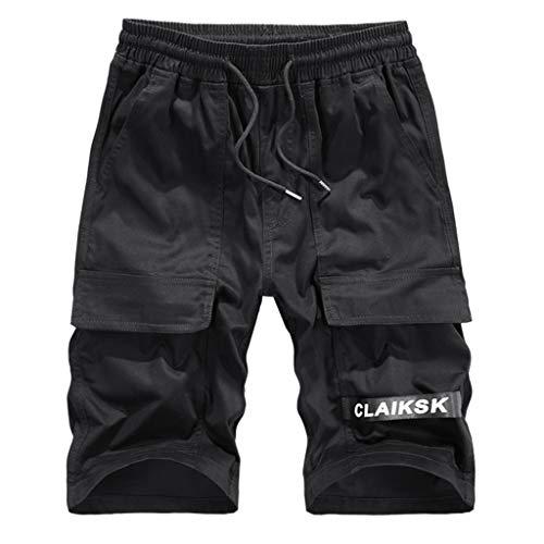 MOTOCO Herren Summer Shorts Lässige 3/4 CLAIKSK Cargohose mit geradem Lockerem Bund und elastischer Taille(4XL,Schwarz) Corduroy Cropped Pants