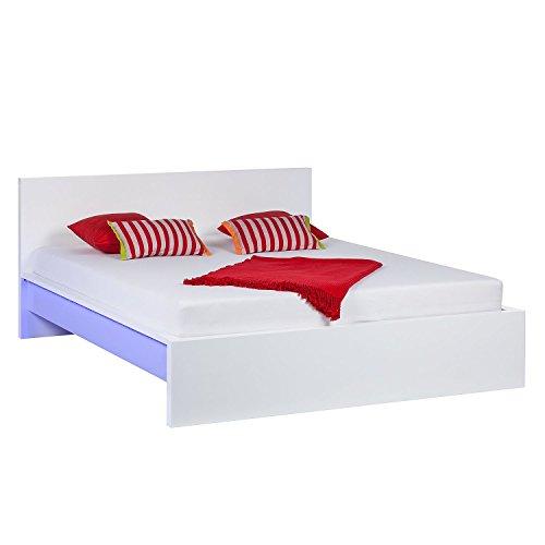 Design Bett mit LED BELEUCHTUNG 180x200 Doppelbett Bettgestell Ehebett Hochglanz weiß