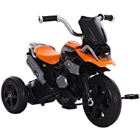 FJ-MC Kids Tricycle, Simulated Motorcycle Appearance, Children 3 Wheel Pedal Bike, for 2-7 Years Kids and Toddlers,Orange