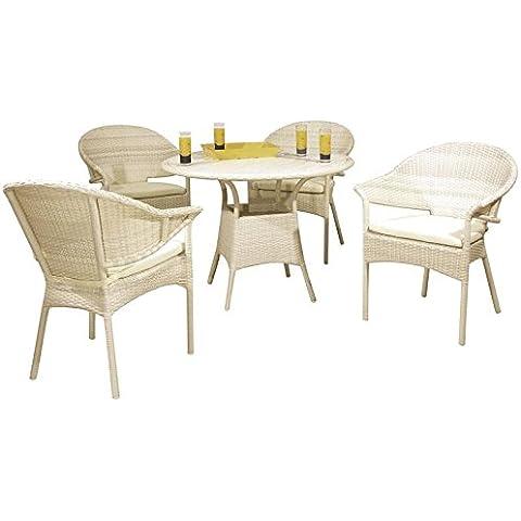 Salón de jardín de resina color blanco 4sillas con Cousin + 1mesa redonda