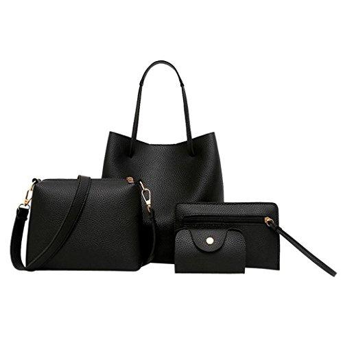 VJGOAL Damen Schultertasche, 4Pcs Frauen Muster Leder Handtasche + Umhängetasche + Messenger Bag + Card Paket Frau Geschenk (4PCS, Schwarz)