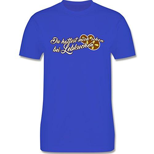 Weihnachten - Du hattest mich schon bei Lebkuchen - L190 Herren Premium Rundhals T-Shirt Royalblau