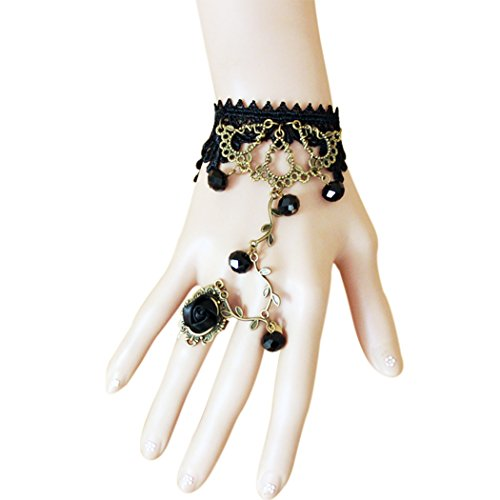time-pawnshop-retro-bronze-flower-vine-black-lace-rose-ring-lady-wrap-bracelet