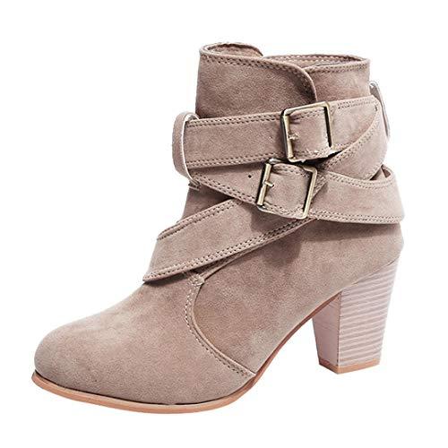 Vovotrade Damen Schnallenschuhe Martain Stiefel Wildleder Stiefeletten Hochhackige Stiefel Damen Damen SchnüRschuhe Hochhackige Zip Ankle Boots Schuhe Winter Herbst
