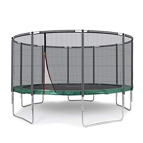 Ampel 24 Outdoor Trampolin 430 cm grün komplett mit außenliegendem Netz, Stabilitätsring, 10 gepolsterten Stangen, Belastbarkeit 160 kg