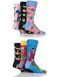 Happy Socks 6-pack Los Beatles Caja De Regalo Hombres Coleccionistas Lp Calcetines, Multi