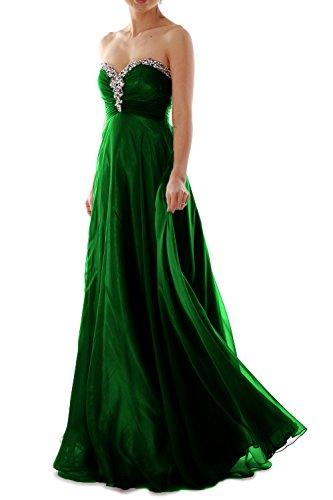 MACloth Women Strapless Crystal Chiffon Long Prom Dress Evening Formal Ball Gown Dunkelgrun