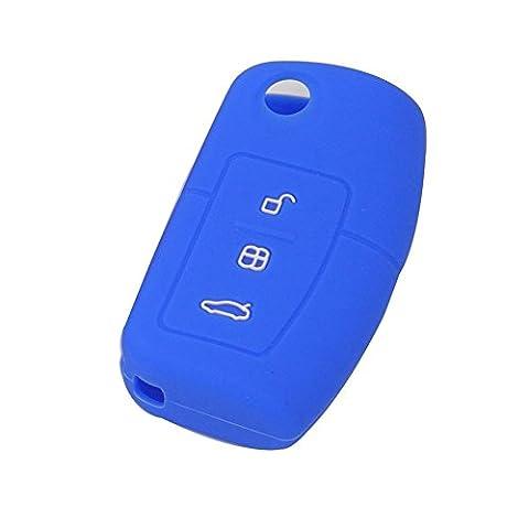 Happyit 2 pcs Silicone Housse de Protection à Distance pour Voiture apte à Ford Fiesta Focus 2 Ecosport Kuga Escape MK2 3 Boutons à Bascule (Bleu)