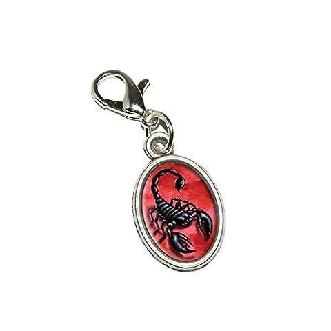 Scorpion Rouge venin de fumée anti-insectes Antique Pendentif ovale avec fermeture éclair-Charm avec fermoir mousqueton