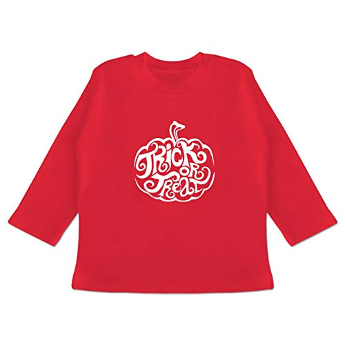 Anlässe Baby - Trick or Treat - 3-6 Monate - Rot - BZ11 - Baby T-Shirt Langarm