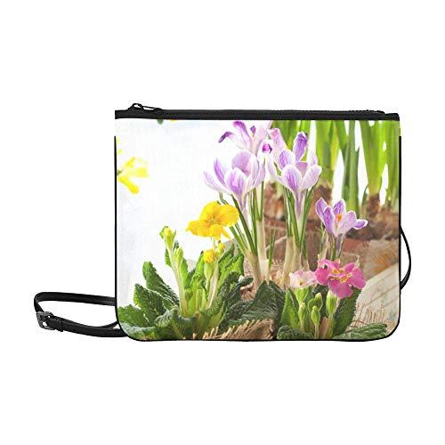 WYYWCY Frühling Gelbe Blume Narzissen Mit Gartenmuster Benutzerdefinierte hochwertige Nylon Schlanke Handtasche Umhängetasche Umhängetasche -