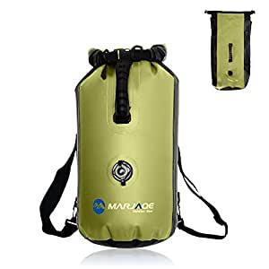 WildGrow Roll Top Closure Dry Bag Sack 30L with Ajustable Double Shoulder Straps, Hand Lifting Handle, Inflation Valve for Boating Kayaking Fishing Canoeing Rafting Swimming (Green)