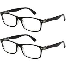 4059c25c94 TBOC Gafas de Lectura Presbicia Vista Cansada - (Pack 2 Unidades) Graduadas  +2.00 Dioptrías Montura Pasta Bicolor Negra y Transparente Hombre y Mujer  Unisex ...