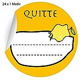 24 leckere Quitten Gelee Aufkleber auch für Liköre u.a. Köstlichkeiten zum beschriften, gelb, MATTE Papieraufkleber für Geschenke, Etiketten für Tischdeko, Pakete, Briefe und mehr (ø 45mm