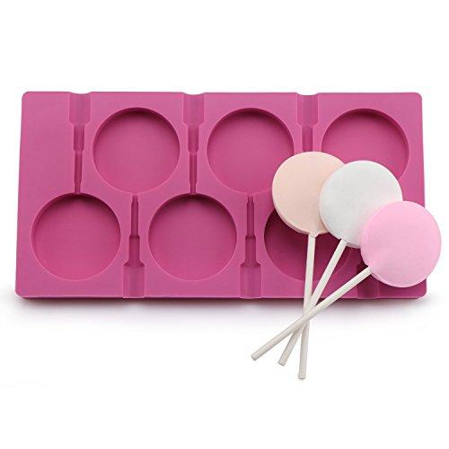 Silikonform für 6 Lutscher, zum Selbermachen von Zucker- und Schokoladen-Lutschern, lebensmittelechtes Silikon, Form für Wassereis, Seife, Kuchen, Form mit 50Lutscher-Stäbchen rose