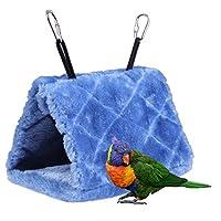 NELNISSA Pet Bird Nest House Parrot Budgies Hanging Cave Hammock Parakeet Cockatoo Canary Lovebird Finch Cage Toy in Winter Warm(Blue)