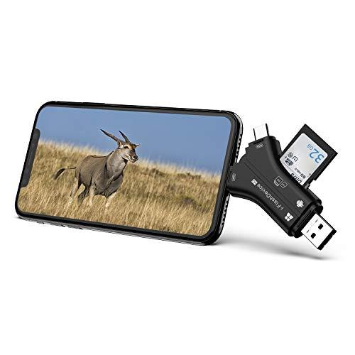 Campark 4 in 1 lettore di schede di memoria sd micro sd usb 2.0 compatibile con iphone ipad mac or android sd and micro sd lettore memory card per visualizzare foto e video sullo smartphone