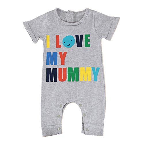 Puseky Baby Kids I LOVE MY MUMMY/DADDY Short Sleeve Romper Jumpsuit Bodysuit (6-12 Months, Grey)