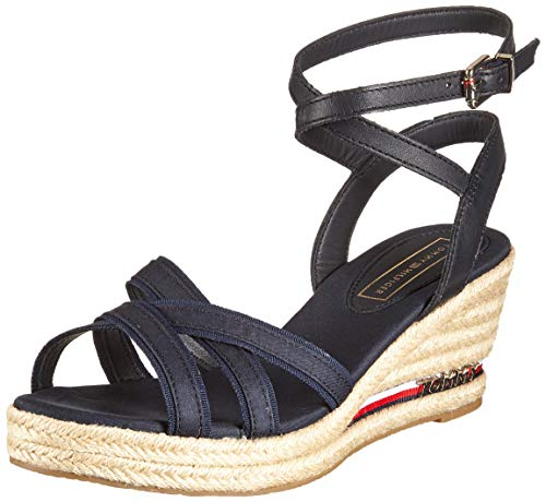 Tommy Hilfiger Damen Iconic ELBA Corporate Ribbon Plateausandalen, Blau (Midnight 403), 41 EU -