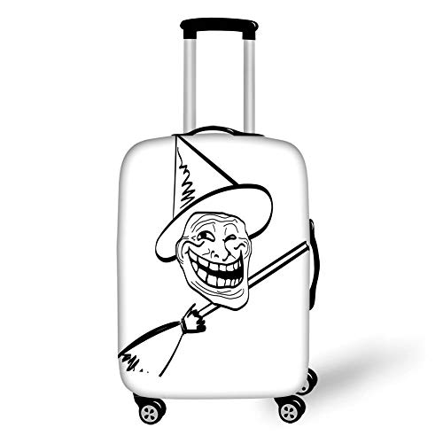 Travel Luggage Cover Suitcase Protector,Humor Decor,Halloween Spirit Themed Witch Guy Meme LOL Joy Spooky Avatar Artful Image,Black White,for Travel,S