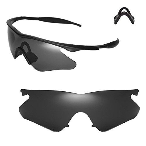 Walleva Ersatzlinsen oder Linsen mit Nasenpolster für Oakley M Frame Heater Sonnenbrille - Mehrfache Optionen (Schwarz Polarisierte Linsen + Nasenpolster)