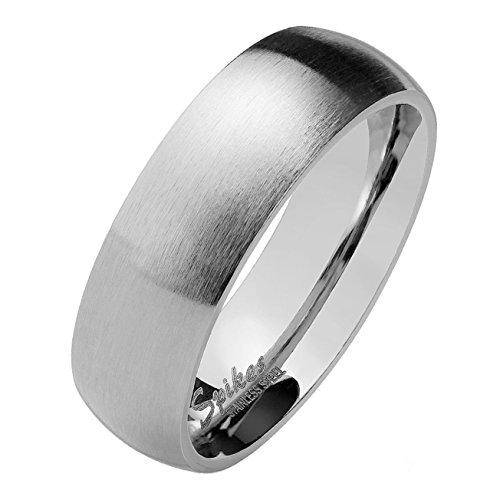 Paula & Fritz silber matt poliert 6mm BREITE Edelstahlring Damen-ring Verlobungs-ring Freundschaftsring Herrenring Partnerring 69 (22)