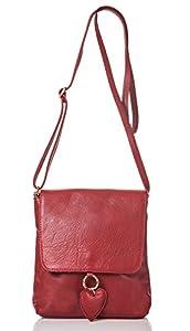 italienische Damen Umhängetasche München aus echtem Leder in klassischen rot, Made in Italy, Handtasche 19x20 cm