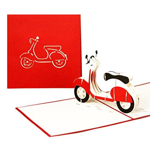 """3D Grußkarte \""""Vespa\"""" - Pop Up Karte Motorroller, ausgefallene Geburtstagskarte, Klappkarte Gutschein Vespa, 3D Glückwunschkarten mit Umschlag"""