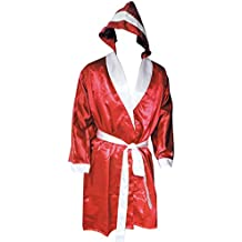 Lisaro Boxer Abrigo con Capucha de satén Rojo Blanco, Rot_Weiss