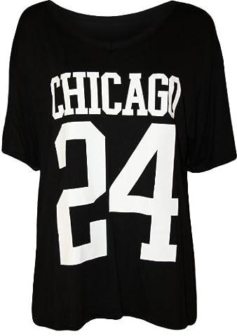 WearAll - 'Chicago 24' imprimé base-ball t-shirt top à des