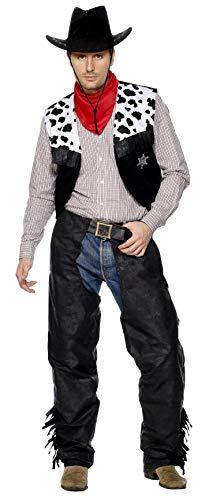 Chaps Cowboy Kostüm - Smiffys, Herren Cowboy Kostüm, Chaps, Weste, Gürtel und Halstuch, Größe: L, 31754